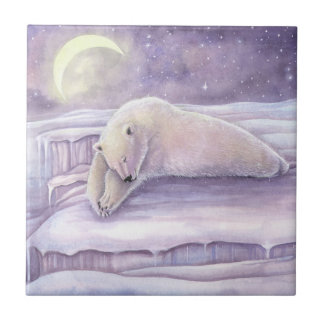 Härligt sova ombonat polart björnkonstverk kakelplatta