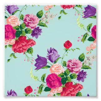 härligt vintage, mint, blommigt, rosa som är fototryck