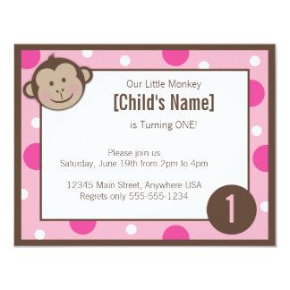 """Härma rosa födelsedaginbjudan 4,25"""" för flickan x 10,8 x 14 cm inbjudningskort"""