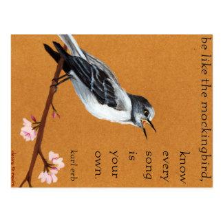 """Härmfågeln """"vet att varje sång är din egna"""" vykort"""