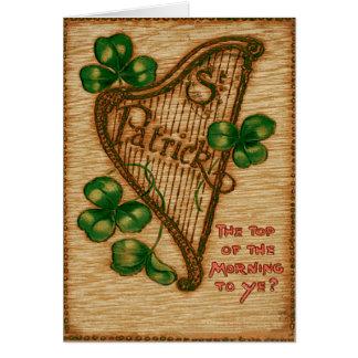 Harpa av den Erin shamrocken som är bästa av Hälsningskort