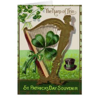 Harpa av kortet för Erin St Patrick dagvintage Hälsningskort