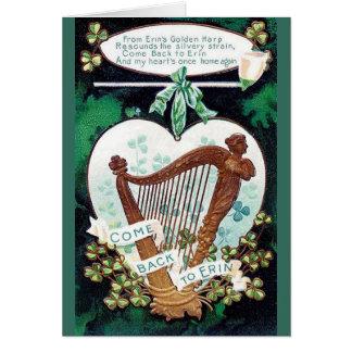 HarpaSts Patrick för vintage irländskt kort för