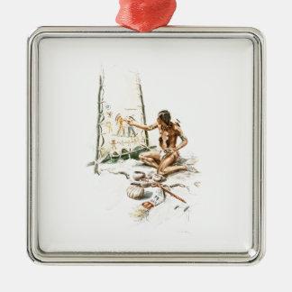 Harrison Fisher sångHiawatha röd indisk målning Julgransprydnad Metall