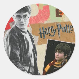 Harry Potter därefter och nu Runt Klistermärke