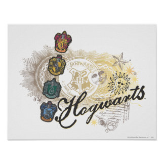 Harry Potter | Hogwarts hus - full färg Poster