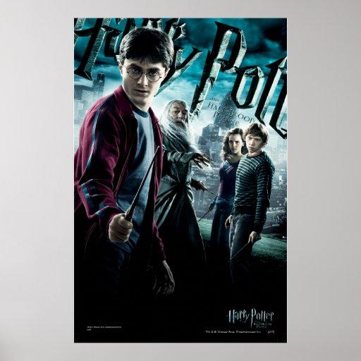Harry Potter med Dumbledore Ron och Hermione 1 Print