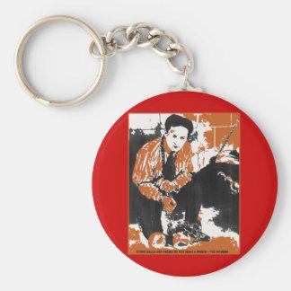 HARRY svart och orange konstillustration för HOUDI Nyckel Ring