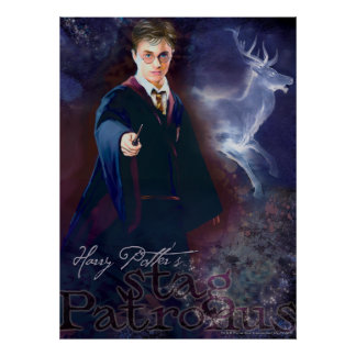 Harrys Potter fullvuxen hankronhjort Patronus Poster