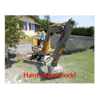 Hårt på arbete - nalle på grävare vykort