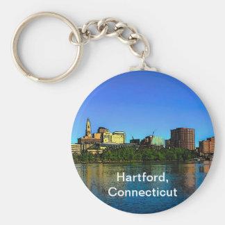 Hartford Connecticut horisonttecknad Rund Nyckelring