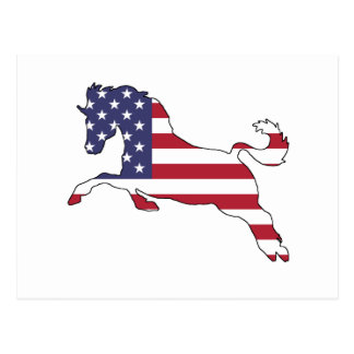 """Häst """"amerikanska flaggan """", vykort"""