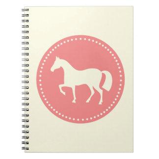 Häst- eller ponnysilhouetteanteckningsbok (kräm & anteckningsbok med spiral