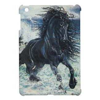 Häst för hingst för Friesianstorm svart cartoon iPad Mini Skydd