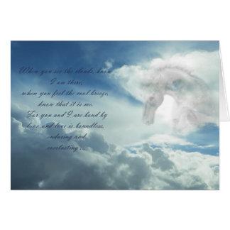 Häst i molnsympatikortet hälsningskort