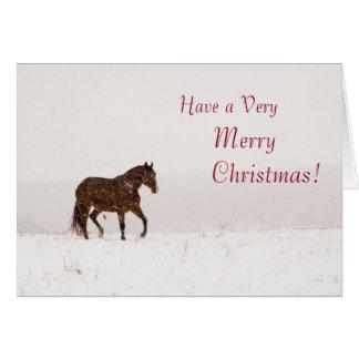 Häst i snögod julkort hälsningskort