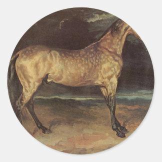 Häst i stormen av Theodore Gericault Runt Klistermärke