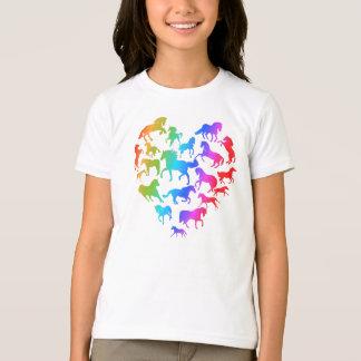 Häst- och hjärtaT-skjorta regnbåge T-shirts