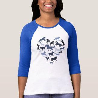 Häst- och hjärtatshirtblått t shirts