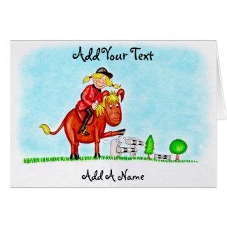 Häst- och ryttareteckning hälsningskort
