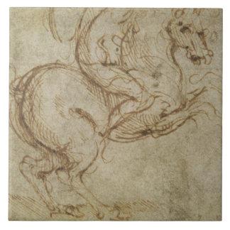Häst och stolt (skriva och bläck på papper), stor kakelplatta