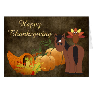 Häst och Turkiet för happy thanksgiving gullig Hälsningskort