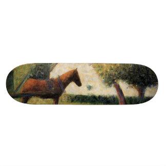 Häst och vagn av Georges Seurat Mini Skateboard Bräda 18,7 Cm