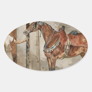 Häst (östra) vid Theodore Gericault Ovalt Klistermärke