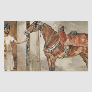 Häst (östra) vid Theodore Gericault Rektangulärt Klistermärke