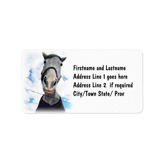 Häst som får Lippy - roligt ansikte Adressetikett