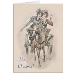 Häst-, vagns- och flickajul hälsningskort