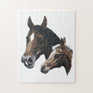 hästar förbryllar - skälla mare- och palominofölet pussel