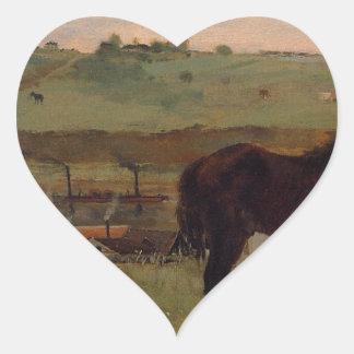 Hästar i en äng av Edgar Degas Hjärtformat Klistermärke
