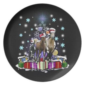 Hästar med julstilar tallrik