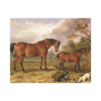 Hästar och hundar som målar på kanfas för dekorati canvastryck