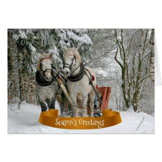 Hästar och snöig jul för Sleigh OBS Kort