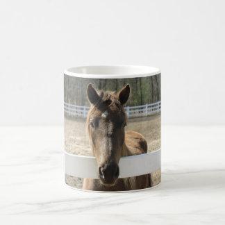 Hästen möter dig på staket vit mugg