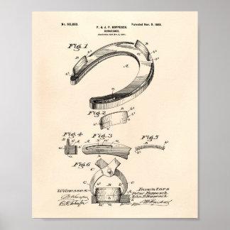 Hästen skor 1898 patenterad konst gammala Peper Poster
