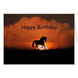 Hästgrattis på födelsedagen i solnedgången hälsningskort