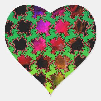 Hästmönster Hjärtformat Klistermärke