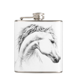 Hästporträtt ritar konstflaskan fickplunta