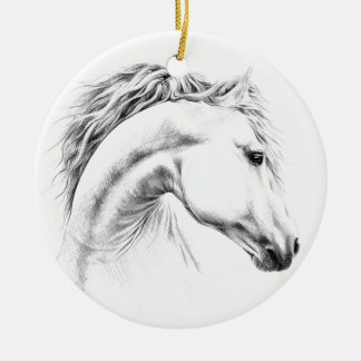 Hästporträtt ritar teckningprydnaden