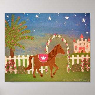 HästPrincess - konst för ungar för sagaslottflicko Affisch