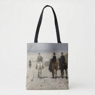 Hästryggritt längs stranden - konst tygkasse