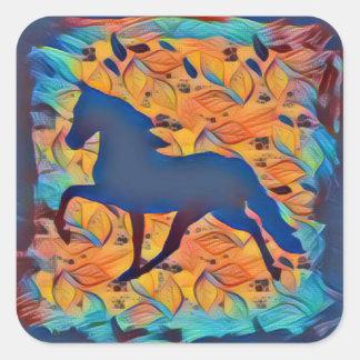 HästSilhouette Fyrkantigt Klistermärke