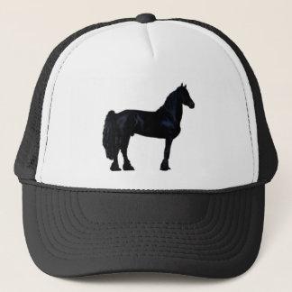 Hästsilhouette i svartvitt truckerkeps
