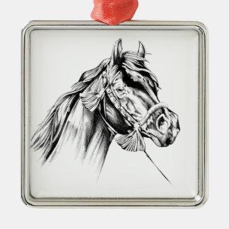 Hästteckningen skissar handgjord konst julgransprydnad metall