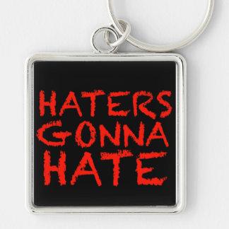 Haters som går att hata fyrkantig silverfärgad nyckelring