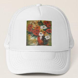 Hatt Ann Hayes som målar blandade röda blommor Keps