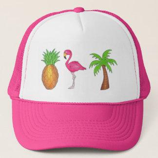 Hatt för Flamingo för tropisk palmträdananas rosa Truckerkeps